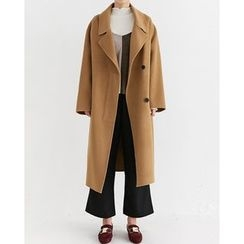Someday, if - Wide-Collar Wool Blend Handmade Long Coat