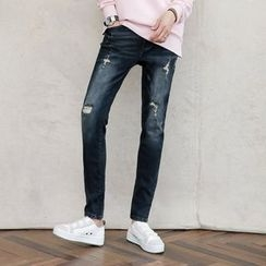 AMPO - Distressed Straight-Cut Jeans