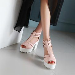JY Shoes - Strappy Platform Heeled Sandals