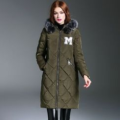 Queen Mulock - Furry-Trim Hooded Applique Zip Down Coat