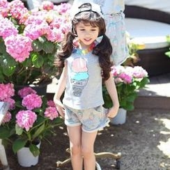 Kidora - Kids Set: Printed Short-Sleeve T-shirt + Shorts