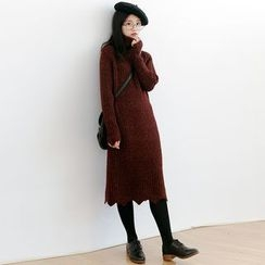 Forest Girl - Scallop Hem Turtleneck Chunky Knit Dress