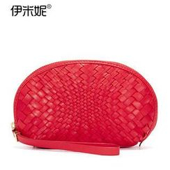 Emini House - Genuine Leather Woven Cosmetic Pouch