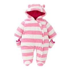 JIMIJIMI - Baby Striped Hoodie One-Piece