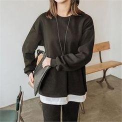JOAMOM - Drop-Shoulder Brushed-Fleece T-Shirt