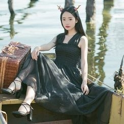sansweet - Sleeveless Pleated Maxi Dress