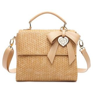 MBaoBao - Bow-Accent Woven Satchel