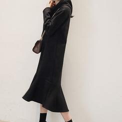 NANING9 - Ruffle-Hem Hood Long Dress