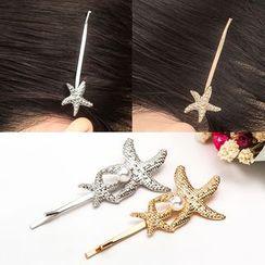 Cheermo - Faux Pearl Starfish Hair Pin