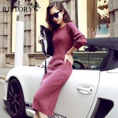 Poppy Love - Plain Cable Long Sleeve Knit Midi Dress