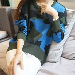 Jiuni - Camouflage Knit Pullover