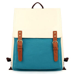 Mr.ace Homme - Contrast-Color Buckled Canvas Backpack