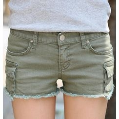 REDOPIN - Denim Distressed-Hem Shorts
