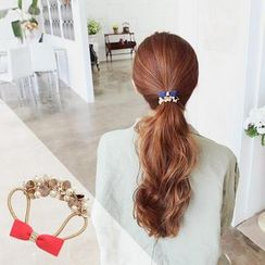 soo n soo - Faux Pearl Ribbon-Accent Hair Tie