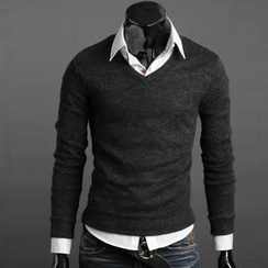 Free Shop - Angora V-Neck Sweater