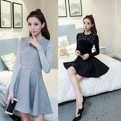 Sienne - Embellished Long Sleeve A-Line Dress