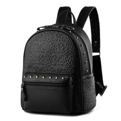 miim - Studded Embossed Faux Leather Backpack
