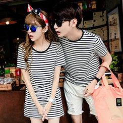 Azure - Couple Matching Stripe T-Shirt / T-Shirt Dress