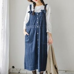 JUSTONE - Button-Down Denim Long Jumper Dress