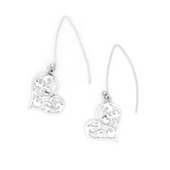 Bling Bling - Bling Bling Platinum Plated 925 Silver Hollow Heart with Pattern Dangle Earrings
