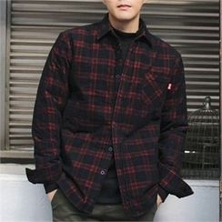 MITOSHOP - Pocket-Front Plaid Corduroy Shirt