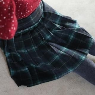 it's girl - Plaid Pleated A-Line Skirt