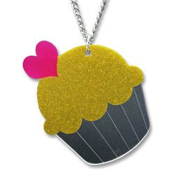 Sweet & Co. - XL Glitter Yellow Cupcake Mirror Long Necklace