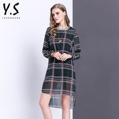 Y:Q - Plaid Long-Sleeve Shift Dress