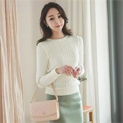 ode' - Round-Neck Cable-Knit Top