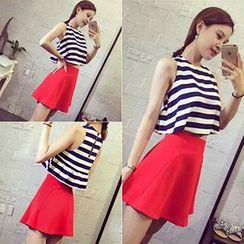 Phyllis - Set : Stripe Sleeveless Top + Skirt
