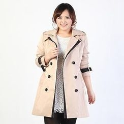 Miman - Double-Breasted Tie-Waist Trench Coat