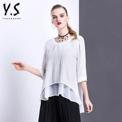 Y:Q - 3/4-Sleeve Layered Top