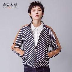 Cloudwood - Faux Leather Panel Striped Zip Jacket