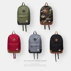 Newin - 仿皮拼接背包