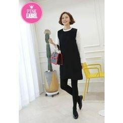 Lemite - Inset Lace Blouse A-Line Dress