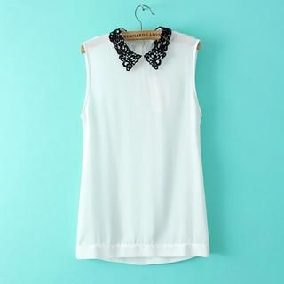 Flower Idea - Lace-Collar Button-Back Sleeveless Top