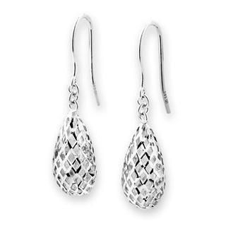 MaBelle - 14K White Gold Star Filigree Drop Fishhook Earrings