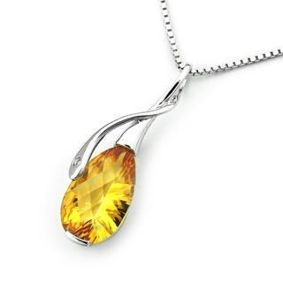 MBLife.com - 18K White Gold Pear Citrine Diamond Accented Infinity Pendant (1/20 cttw) (FREE 925 Silver Box Chain)