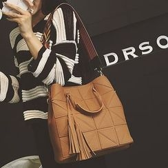 Velocia - Set: Tasseled Shoulder Bag + Crossbody Bag
