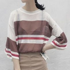 Miss Kekeli - Striped 3/4 Sleeve Sheer Sweater