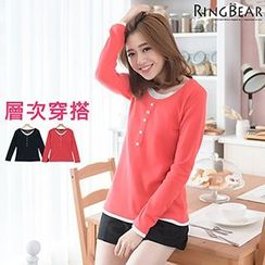 RingBear - Button Front Long Sleeve Tee