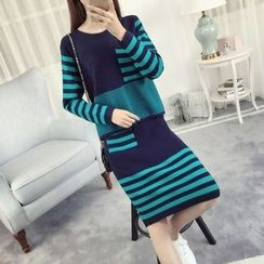 anzoveve - Set: Striped Sweater + Midi Skirt