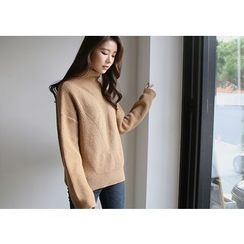 Hello sweety - Mock-Neck Rib-Knit Sweater