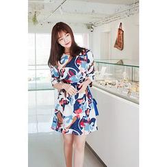 CHERRYKOKO - 印花系巾连衣裙