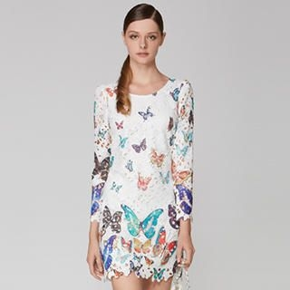 O.SA - Butterfly-Print Cutout Dress