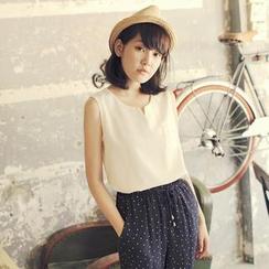 Tokyo Fashion - Notched-Neckline Sleeveless Chiffon Top