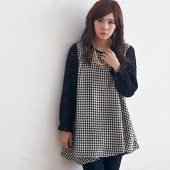 BAIMOMO - Lace-Sleeve A-Line Houndstooth Top