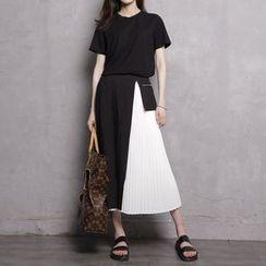 Sonne - Color-Block Pleated Midi Skirt
