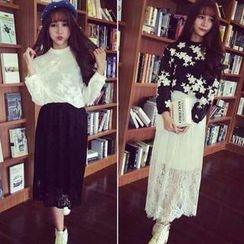 QZ Lady - Set: Embroidered Long-Sleeve Top + Bandeau + Midi Lace Skirt