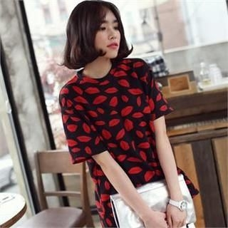 midnightCOCO - Lip Pattern Cotton T-Shirt